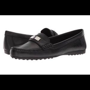 COACH Black Fredrica Loafer Leather Flats